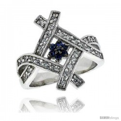 "Sterling Silver & Rhodium Plated Flower Ring, w/ Tiny High Quality Sapphire & White CZ's, 7/8"" (22 mm) wide"