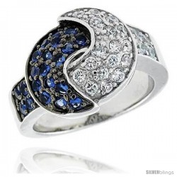 "Sterling Silver & Rhodium Plated Overlapping Crescent Moon Band, w/ Tiny High Quality Sapphire & White CZ's, 5/8"" (16 mm) wide"