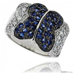 "Sterling Silver & Rhodium Plated Butterfly Band, w/ 2mm High Quality Sapphire & White CZ's, 5/8"" (16 mm) wide"