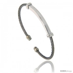 Stainless Steel Thin Cable Golf Cuff ID Bracelet, 7 in