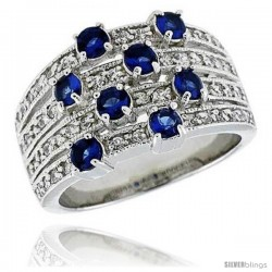 "Sterling Silver & Rhodium Plated Dome Band, w/ Eight 3mm High Quality Sapphire CZ's, 1/2"" (13 mm) wide"