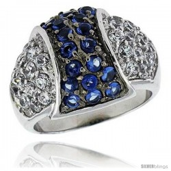 "Sterling Silver & Rhodium Plated Dome Ring, w/ 2mm High Quality Sapphire & White CZ's, 9/16"" (15 mm) wide"