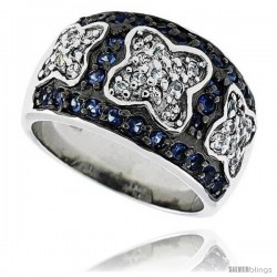 "Sterling Silver & Rhodium Plated Floral Dome Ring, w/ Tiny High Quality Sapphire & White CZ's, 1/2"" (13 mm) wide"