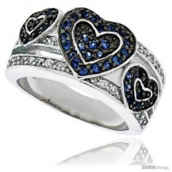 "Sterling Silver & Rhodium Plated Hearts Band, w/ Tiny High Quality Sapphire & White CZ's, 1/2"" (12 mm) wide"