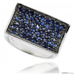 "Sterling Silver & Rhodium Plated Rectangular Band, w/ 2mm High Quality Sapphire CZ's, 9/16"" (15 mm) wide"