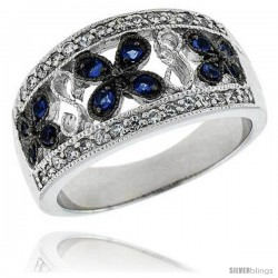 "Sterling Silver & Rhodium Plated Floral Band, w/ Tiny High Quality Sapphire & White CZ's, 7/16"" (12 mm) wide"