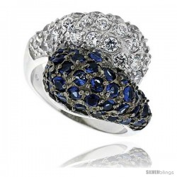 "Sterling Silver & Rhodium Plated Freeform Band, w/ 2mm High Quality Sapphire & White CZ's, 11/16"" (18 mm) wide"