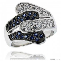 "Sterling Silver & Rhodium Plated Freeform Band, w/ Tiny High Quality Sapphire & White CZ's, 3/4"" (19 mm) wide"