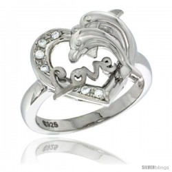 Sterling Silver DOLPHINS HEART LOVE Ring CZ stones Rhodium Finished, 21/32 in wide