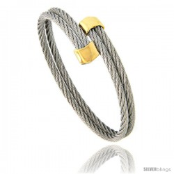 Stainless Steel Cable Golf Bracelet Gold-Tone Ends, 7 in