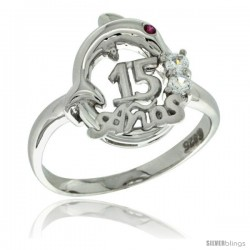 Sterling Silver Quinceanera 15 ANOS Dolphin Ring CZ stones Rhodium Finished, 1/2 in wide