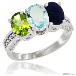 14K White Gold Natural Peridot, Aquamarine & Lapis Ring 3-Stone Oval 7x5 mm Diamond Accent