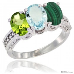 14K White Gold Natural Peridot, Aquamarine & Malachite Ring 3-Stone Oval 7x5 mm Diamond Accent