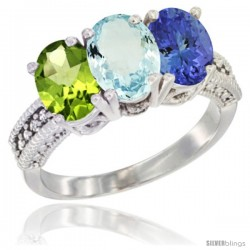 14K White Gold Natural Peridot, Aquamarine & Tanzanite Ring 3-Stone Oval 7x5 mm Diamond Accent