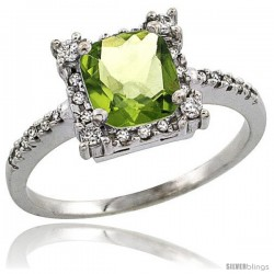 14k White Gold Diamond Halo Peridot Ring 1.2 ct Checkerboard Cut Cushion 6 mm, 11/32 in wide