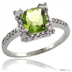 14k White Gold Diamond Halo Peridot Ring 1.2 ct Checkerboard Cut Cushion 6 mm, 11/32 in wide