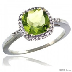 14k White Gold Diamond Peridot Ring 1.5 ct Checkerboard Cut Cushion Shape 7 mm, 3/8 in wide