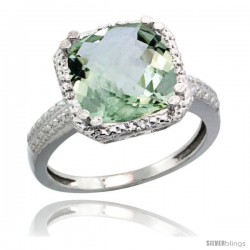 Sterling Silver Diamond Natural Green Amethyst Ring Ring 5.94 ct Checkerboard Cushion 11 mm Stone 1/2 in wide