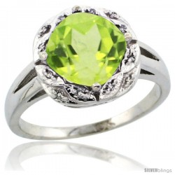 14k White Gold Diamond Halo Peridot Ring 2.7 ct Checkerboard Cut Cushion Shape 8 mm, 1/2 in wide