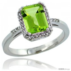 14k White Gold Diamond Peridot Ring 1.6 ct Emerald Shape 8x6 mm, 1/2 in wide -Style Cw411129