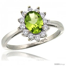 14k White Gold Diamond Halo Peridot Ring 0.85 ct Oval Stone 7x5 mm, 1/2 in wide