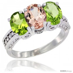 14K White Gold Natural Morganite & Peridot Sides Ring 3-Stone Oval 7x5 mm Diamond Accent