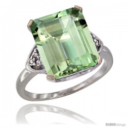 14k White Gold Ladies Natural Green Amethyst Ring Emerald-shape 12x10 Stone Diamond Accent