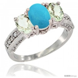 14k White Gold Ladies Oval Natural Turquoise 3-Stone Ring with Green Amethyst Sides Diamond Accent