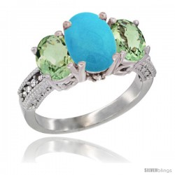 14K White Gold Ladies 3-Stone Oval Natural Turquoise Ring with Green Amethyst Sides Diamond Accent