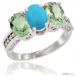 14K White Gold Natural Turquoise & Green Amethyst Sides Ring 3-Stone 7x5 mm Oval Diamond Accent