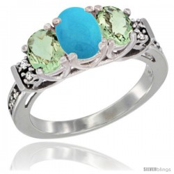 14K White Gold Natural Turquoise & Green Amethyst Ring 3-Stone Oval with Diamond Accent