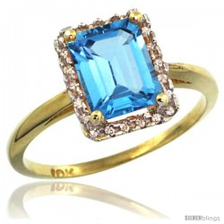 10k Yellow Gold Diamond Swiss Blue Topaz Ring 1.6 ct Emerald Shape 8x6 mm, 1/2 in wide