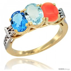 10K Yellow Gold Natural Swiss Blue Topaz, Aquamarine & Coral Ring 3-Stone Oval 7x5 mm Diamond Accent