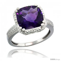 Sterling Silver Diamond Natural Amethyst Ring 5.94 ct Checkerboard Cushion 11 mm Stone 1/2 in wide