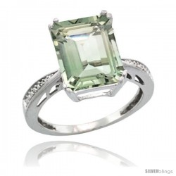Sterling Silver Diamond Green-Amethyst Ring 5.83 ct Emerald Shape 12x10 Stone 1/2 in wide -Style Cwg02149