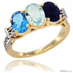10K Yellow Gold Natural Swiss Blue Topaz, Aquamarine & Lapis Ring 3-Stone Oval 7x5 mm Diamond Accent