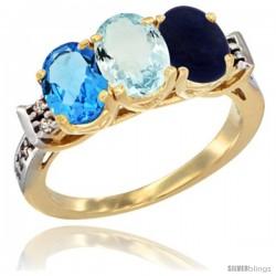 10K Yellow Gold Natural Swiss Blue Topaz, Aquamarine & Lapis Ring 3-Stone Oval 7x5 mm Diamond Accent