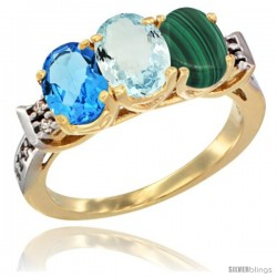 10K Yellow Gold Natural Swiss Blue Topaz, Aquamarine & Malachite Ring 3-Stone Oval 7x5 mm Diamond Accent