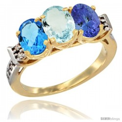10K Yellow Gold Natural Swiss Blue Topaz, Aquamarine & Tanzanite Ring 3-Stone Oval 7x5 mm Diamond Accent
