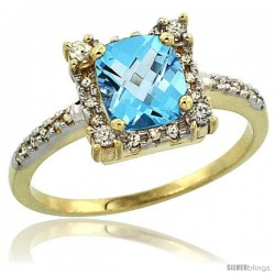 10k Yellow Gold Diamond Halo Swiss Blue Topaz Ring 1.2 ct Checkerboard Cut Cushion 6 mm, 11/32 in wide