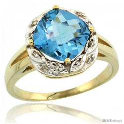 10k Yellow Gold Diamond Halo Swiss Blue Topaz Ring 2.7 ct Checkerboard Cut Cushion Shape 8 mm, 1/2 in wide