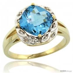 10k Yellow Gold Diamond Halo Swiss Blue Topaz Ring 2.7 ct Checkerboard Cut Cushion Shape 8 mm, 1/2 in wide