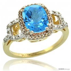 10k Yellow Gold Diamond Swiss Blue Topaz Ring 2 ct Checkerboard Cut Cushion Shape 9x7 mm, 1/2 in wide