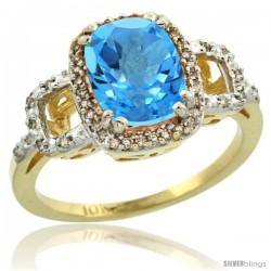 10k Yellow Gold Diamond Swiss Blue Topaz Ring 2 ct Checkerboard Cut Cushion Shape 9x7 mm, 1/2 in wide