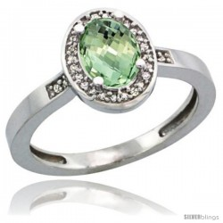 Sterling Silver Diamond Natural Green Amethyst Ring Ring 1 ct 7x5 Stone 1/2 in wide