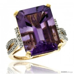 14k Yellow Gold Diamond Amethyst Ring 12 ct Emerald Shape 16x12 Stone 3/4 in wide