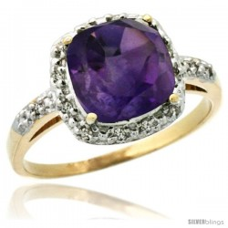 14k Yellow Gold Diamond Amethyst Ring 2.08 ct Cushion cut 8 mm Stone 1/2 in wide