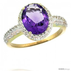 14k Yellow Gold Diamond Amethyst Ring Oval Stone 10x8 mm 2.4 ct 1/2 in wide