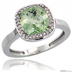 Sterling Silver Diamond Natural Green Amethyst Ring Ring 2.08 ct Checkerboard Cushion 8mm Stone 1/2.08 in wide