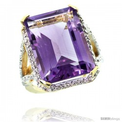 14k Yellow Gold Diamond Amethyst Ring 14.96 ct Emerald shape 18x13 Stone 13/16 in wide